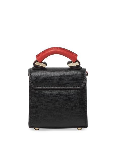 Nano Alex Black Widow Saffiano Top Handle Charm Bag, Black/Red