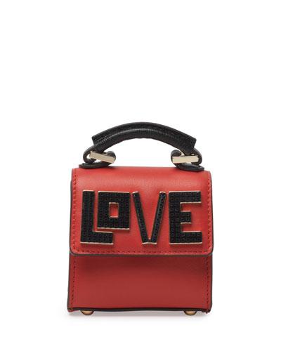 Nano Alex Black Widow Top Handle Charm Bag, Black/Red