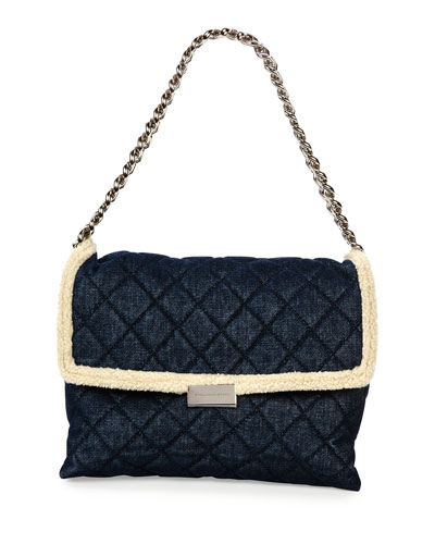 Quilted Denim & Faux-Shearling Shoulder Bag, Blue