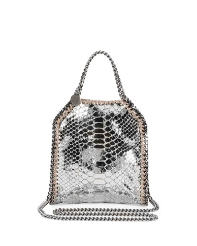 Tiny Bella Snake-Print Tote Bag, Silver