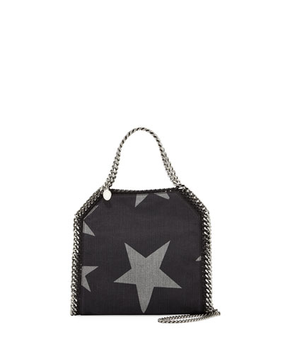 Mini Bella Star-Print Denim Tote Bag, Black