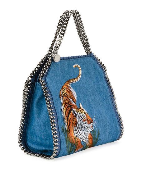 4a149b4396f9d Stella McCartney Mini Bella Tiger Denim Tote Bag