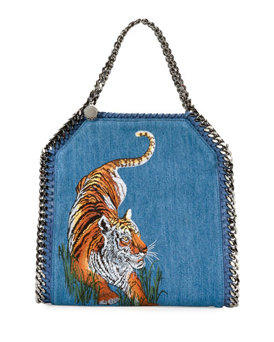 Mini Bella Tiger Denim Tote Bag, Blue