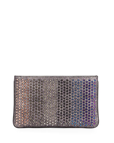 Loubiposh Colorblock Spiked Clutch Bag, Multi