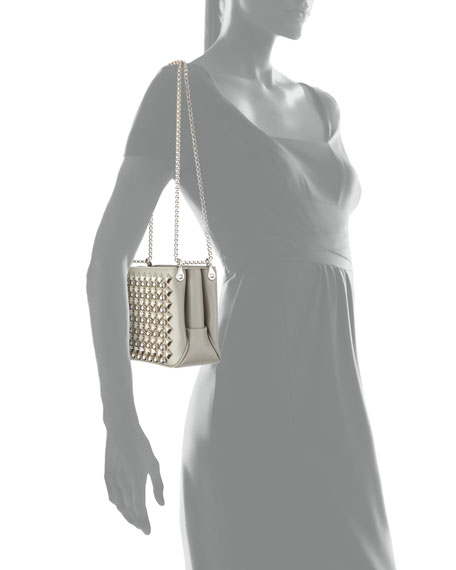 Triloubi Small Studded Leather Shoulder Bag, Silver