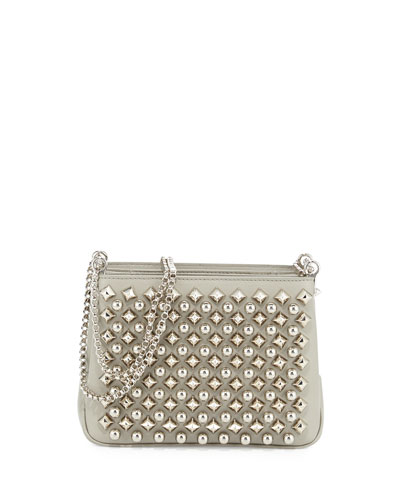 Triloubi Small Studded Leather Shoulder Bag, Silver