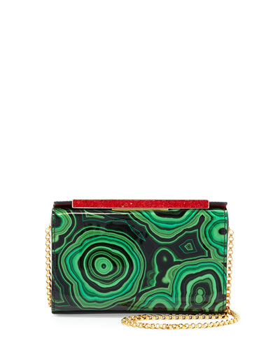 Vanite Small Printed Patent Clutch Bag, Green