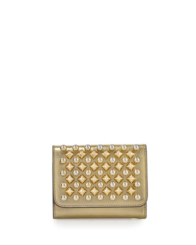 Macaron Mini Spikes Wallet, Frozen Gold