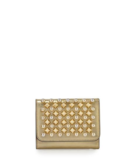 Macaron Mini Spikes Wallet, Frozen Gold