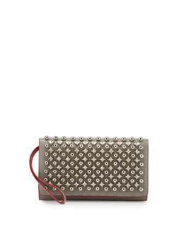 Macaron Flap Wallet with Spikes, Silver