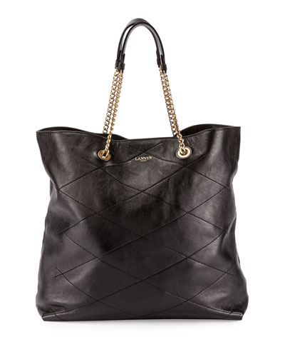 Sugar Quilted Chain Tote Bag, Black