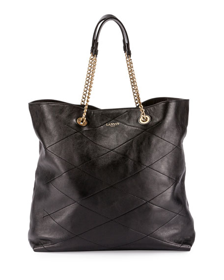 Lanvin Sugar Quilted Chain Tote Bag Black