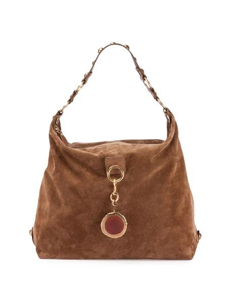 Large Nubuck Leather Hobo Bag, Dark Beige