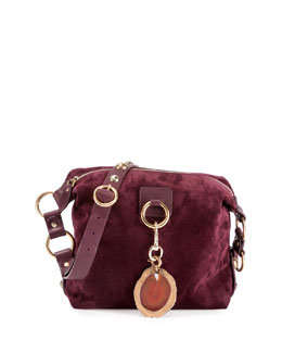 Medium Nubuck Leather Hobo Bag, Aubergine
