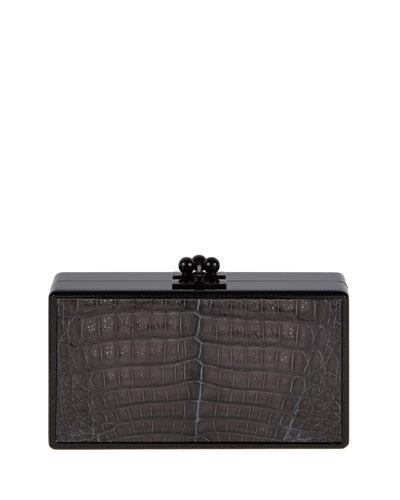 Jean Paneled Crocodile Clutch Bag, Obsidian Black