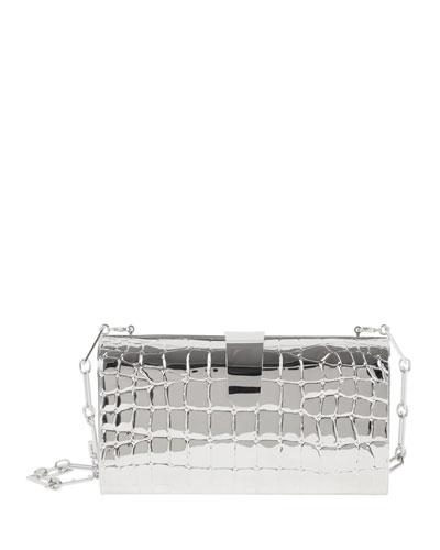 Rebekah Croc-Print Metal Clutch Bag, Silver