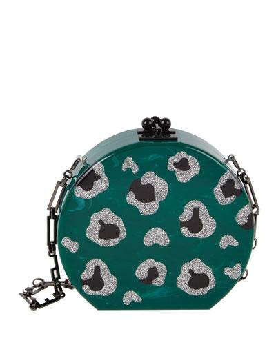 Oscar Round Leopard-Print Clutch Bag, Green Pattern
