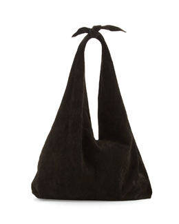 Bindle Knot Suede Hobo Bag, Black
