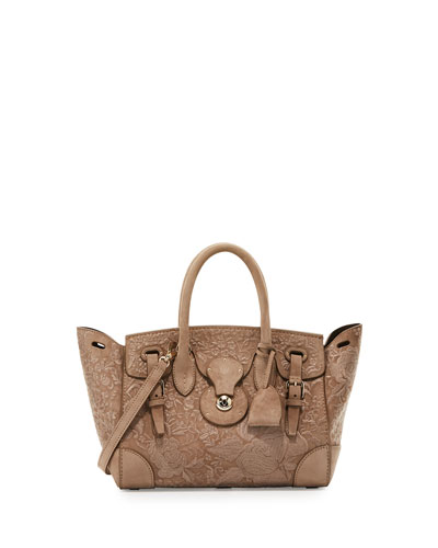 Ricky 27 Embroidered Suede Satchel Bag, Taupe