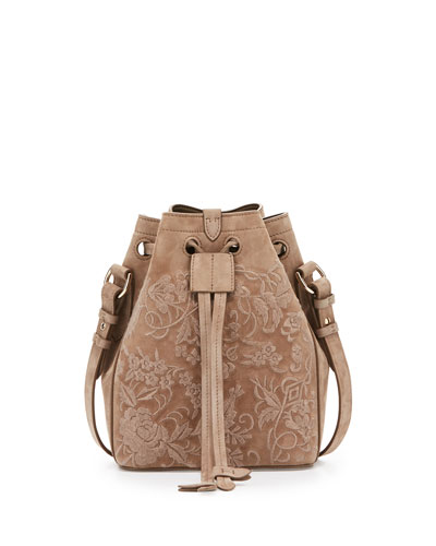 Small Embroidered Suede Drawstring Bucket Bag, Taupe