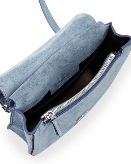Suede Hunting 9 Shoulder Bag, Blue