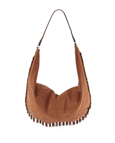 Sling 15 Fringed Suede Hobo Bag, Medium Brown