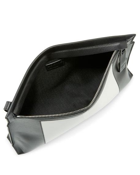 Colorblock Leather T Pouch, Black/White