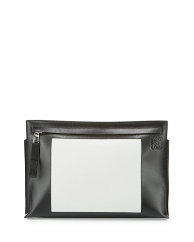 Colorblock Leather T Pouch, Black/White
