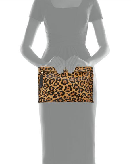 T Pouch in Calf Hair, Leopard