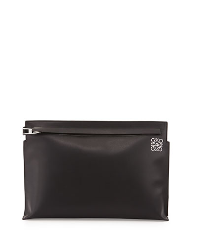 Large Leather T Pouch Bag, Black
