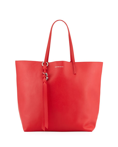 Open Leather Shopper Tote Bag