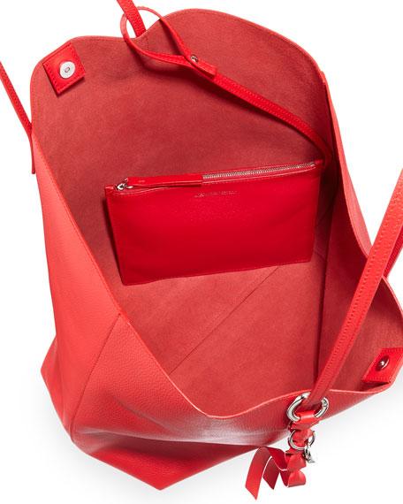 Open Leather Shopper Tote Bag
