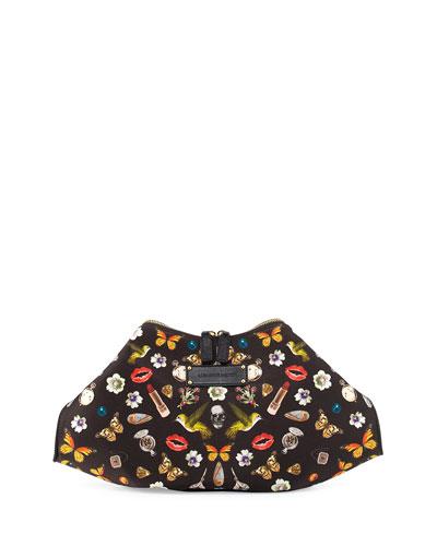 De-Manta Butterfly-Print Clutch Bag, Multi