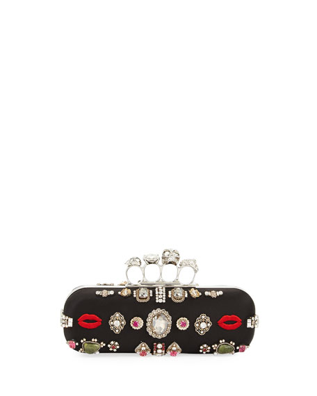 Alexander McQueen Embroidered Knuckle Box Clutch Bag, Black/Multi