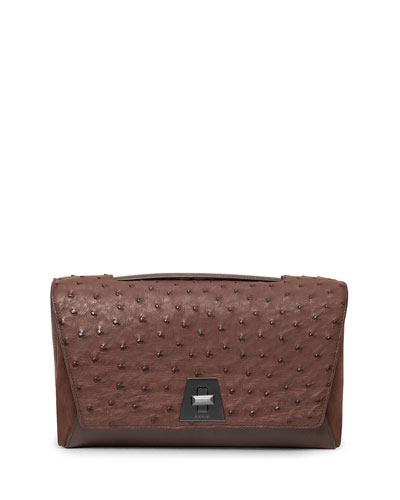 Anouk Small Day Ostrich Clutch Bag, Brown