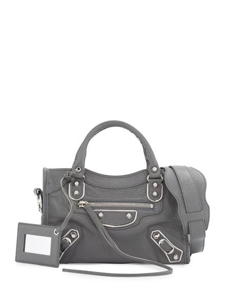 Balenciaga Metallic Edge City Mini Bag, Gris Acier
