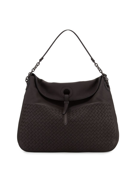 Bottega Veneta Intrecciato Cervo Flap-Top Hobo Bag, Espresso