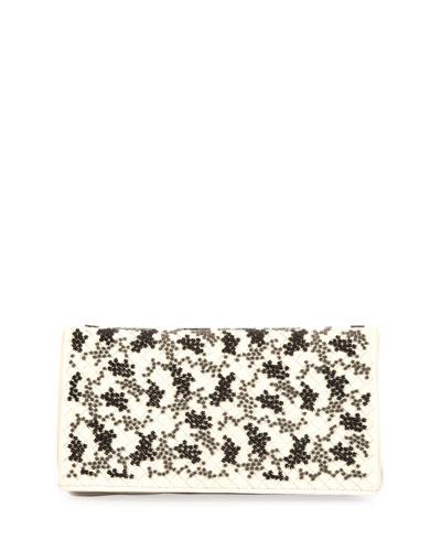 Bouquet Intrecciato Clutch Bag, Mist/Black