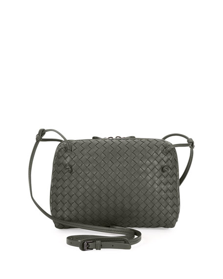 Bottega Veneta Intrecciato Double-Compartment Bag, New Light Gray