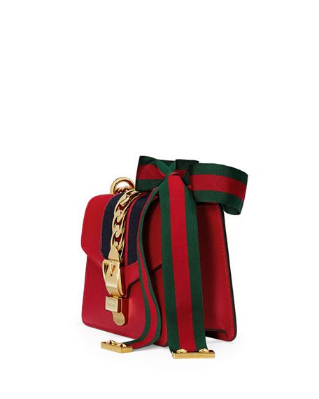b5104290d9 Gucci Sylvie Leather Mini Chain Shoulder Bag