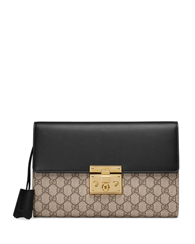 Padlock GG Supreme Clutch Bag, Black