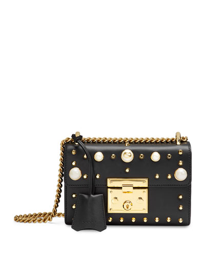 Padlock Studded Leather Shoulder Bag, Black/Multi