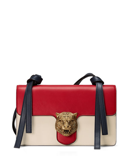 a1ff375c53e3 Gucci Animalier Leather Shoulder Bag, Red/White/Blue