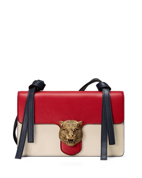 478f23dfc06ddd Gucci Animalier Leather Shoulder Bag, Red/White/Blue