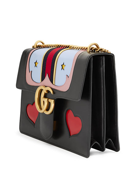 GG Marmont Medium Web Heart Shoulder Bag, Black/Multi