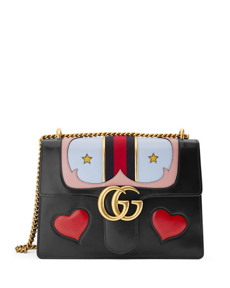 ae1c5d72f94 Gucci GG Marmont Medium Web Heart Shoulder Bag