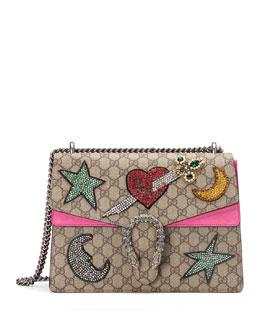 Dionysus Embroidered GG Supreme Canvas Shoulder Bag, Beige/Ebony/Pink
