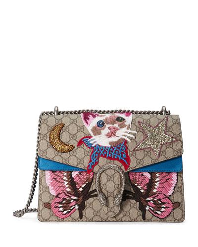 Dionysus Embroidered Shoulder Bag, Beige/Ebony/Blue