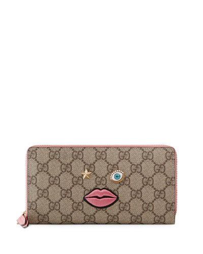 Embroidered-Face Zip-Around Wallet, Brown