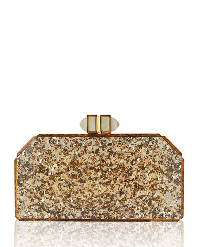 Specchio Pailettes Resin Clutch Bag